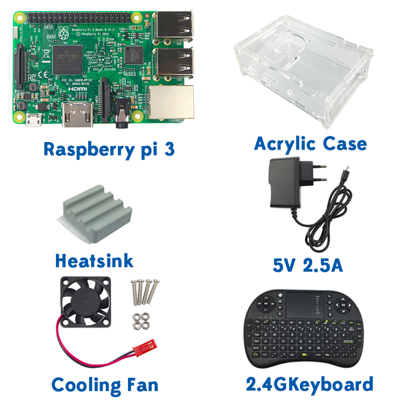 Original 1GB Ras pi 3 Kit Raspberry Pi 3 Model B Board+Acrylic Case+Cooling fan+SIC Heat sink+5V2.5A Power Charger+2.4G keyboard