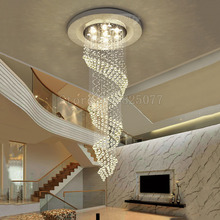 DHL 2017 Creative spiral stairs led crystal chandeliers Dia800*H2500mm villa hall ceiling light hotel JF1305