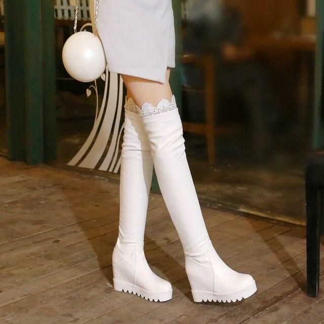 LDHZXC 2018 mới trên đầu gối giày cho phụ nữ trong mùa thu với mũi tròn gót thấp da PU mềm ngắn sang trọng kéo màu bò