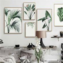 цена Watercolor Green Plants Leaves Canvas Paintings Nordic Office Wall Art Picture for Living Room Home Decor Frameless Painting онлайн в 2017 году