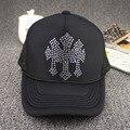 Летние новые стили мужские или женские губка сетки бейсболка со стразами девушки черный поддельные кристалл hat mesh
