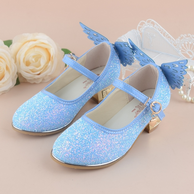 qloblo Girls Princess Shoes 2018 New Spring Summer 4~10Y Children Wedding  Sandals High Heels Butterfly Dancing Kids dress Shoes d99ce7f21819