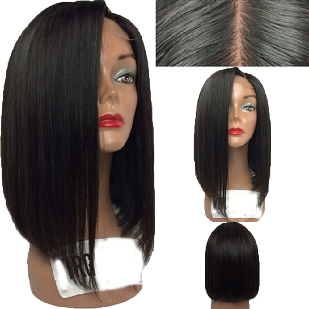 Eversilky Brazilian Remy Hair Silk Top Wig Full Lace Human Hair Wigs Pre Plucked For Women Straight Short Bob Wig Natural Color