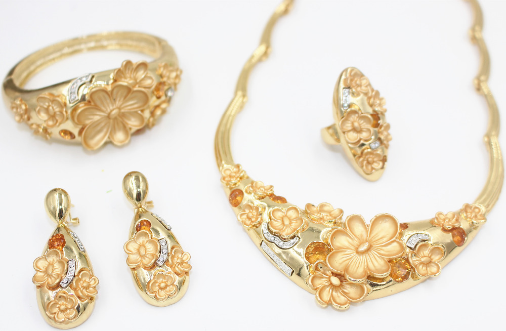 2015 full design 18K gold plated crystal wedding jewelry sets