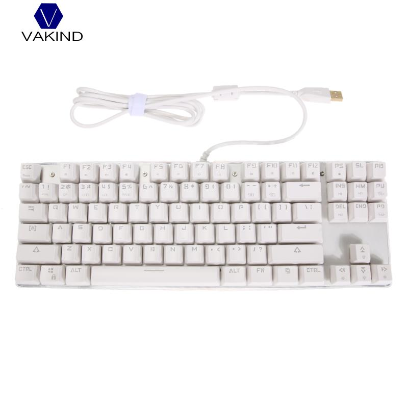 Wired USB 87 Keys Mechanical Keyboard, Anti-Ghost Aluminum Alloy Panel Colorful LED Backlit Keyboard for PC Computing Gaming rainbow gaming backlight keyboard 87 keys colorful mechanical keyboard with blue black switches desktop for pc laptop