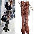 Nueva Llegada del otoño zapatos de cuero botas de invierno de las mujeres más el tamaño de la mujer marrón negro leggings Europa