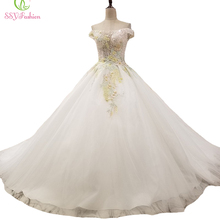 SSYFashion New High-end Wedding Dress Bride Court Train