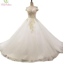 SSYFashion New High-end Wedding Dress Bride Court Train