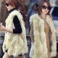 Hot selling ! New 2016 women's slim sleeveless faux fur vest vest winter long section of large size  S -XXXL