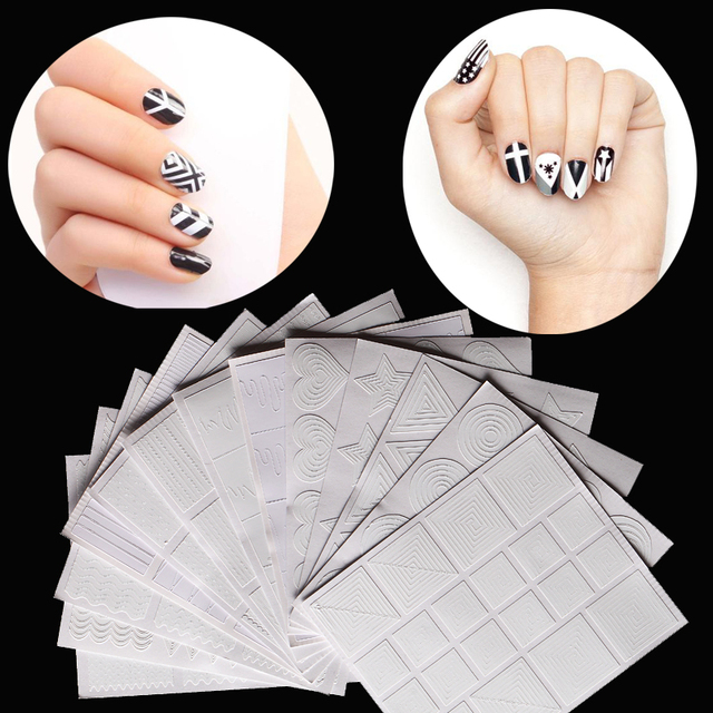 12 Style Nail Art French Smile Geometry Design Hollow Stencil Guide ...