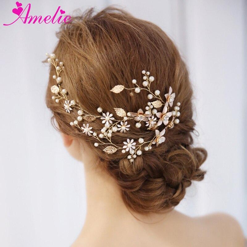 Bridal Pearls Hair Vine Floral Wedding Proms Comb Headband Pin Headpiece