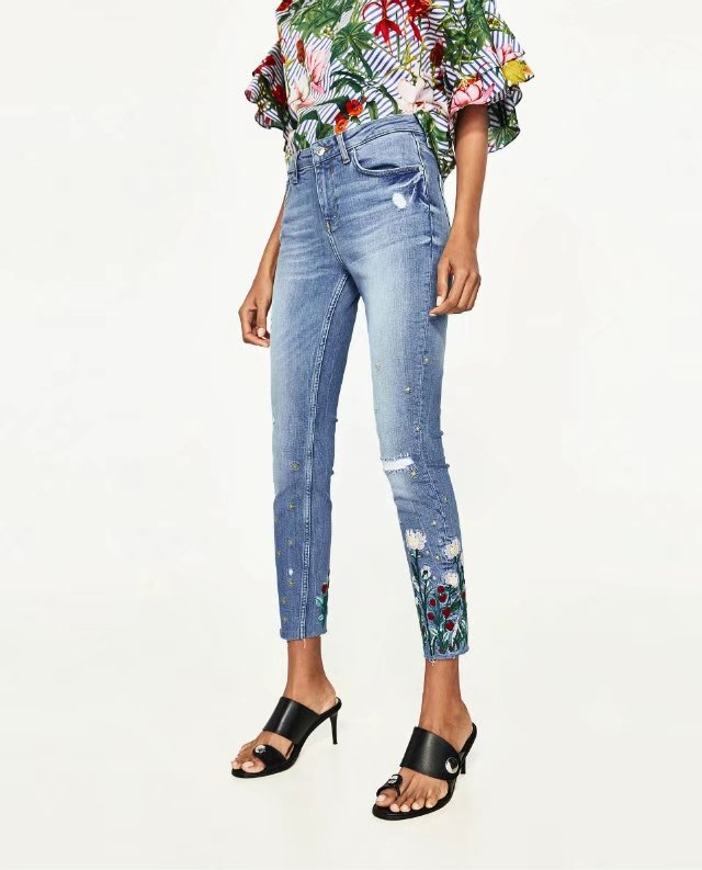 E0429G6 Europe and the United States 2017 new flower embroidery Waist Stretch Jeans 74281 0503