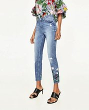 E0429G6 Europe and the United States 2017 new flower embroidery Waist Stretch Jeans, 74281 0503