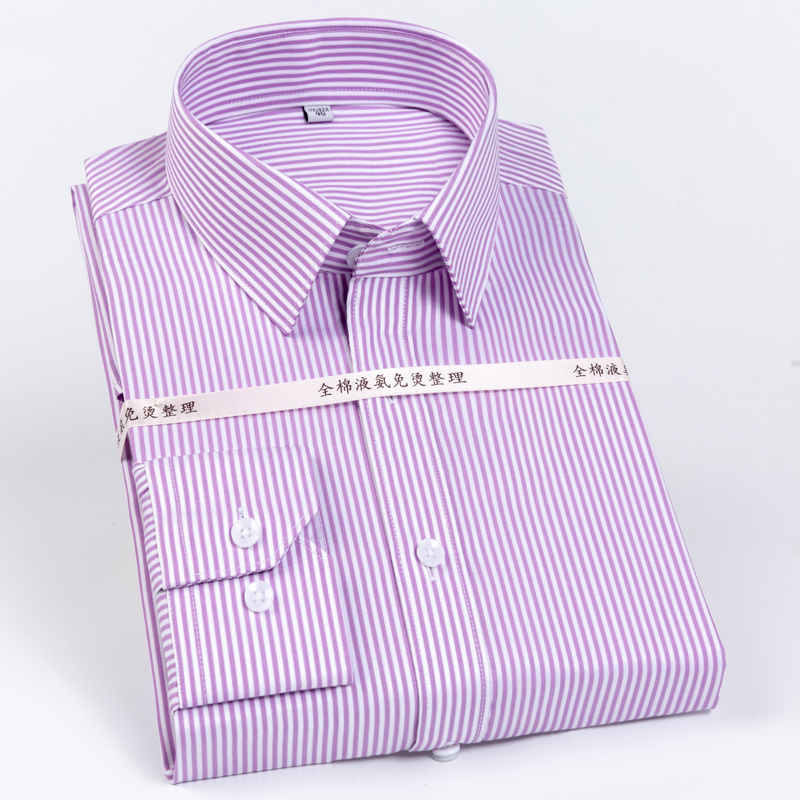 US $23 99 20% OFF|Mens 100% Cotton Standard fit Striped Dress Shirts Long  Sleeve Easy Care Button down Shirt Formal Business Premium Male Clothing-in
