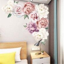 Большие розовые цветы, пионы на стены, Наклейки, романтические цветы, домашний декор, Настенная Наклейка для спальни, гостиной, обои, Muursticker