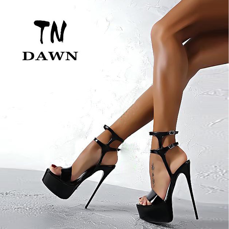 New Sexy Ladies Fashion High Heel Sandals Platform Pointed Toe Buckle Strap Elegant Thin Pumps Stilettos Wedding Party Shoes xiaying smile summer new woman sandals platform women pumps buckle strap high square heel fashion casual flock lady women shoes