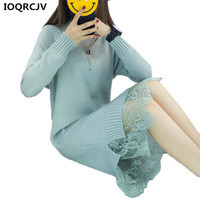 Women-Knit-Sweater-Dress-2018-New-Fashion-Lace-Stitching-Long-sleeved-Half-collar-Warm-Bottoming-Sweater.jpg_200x200