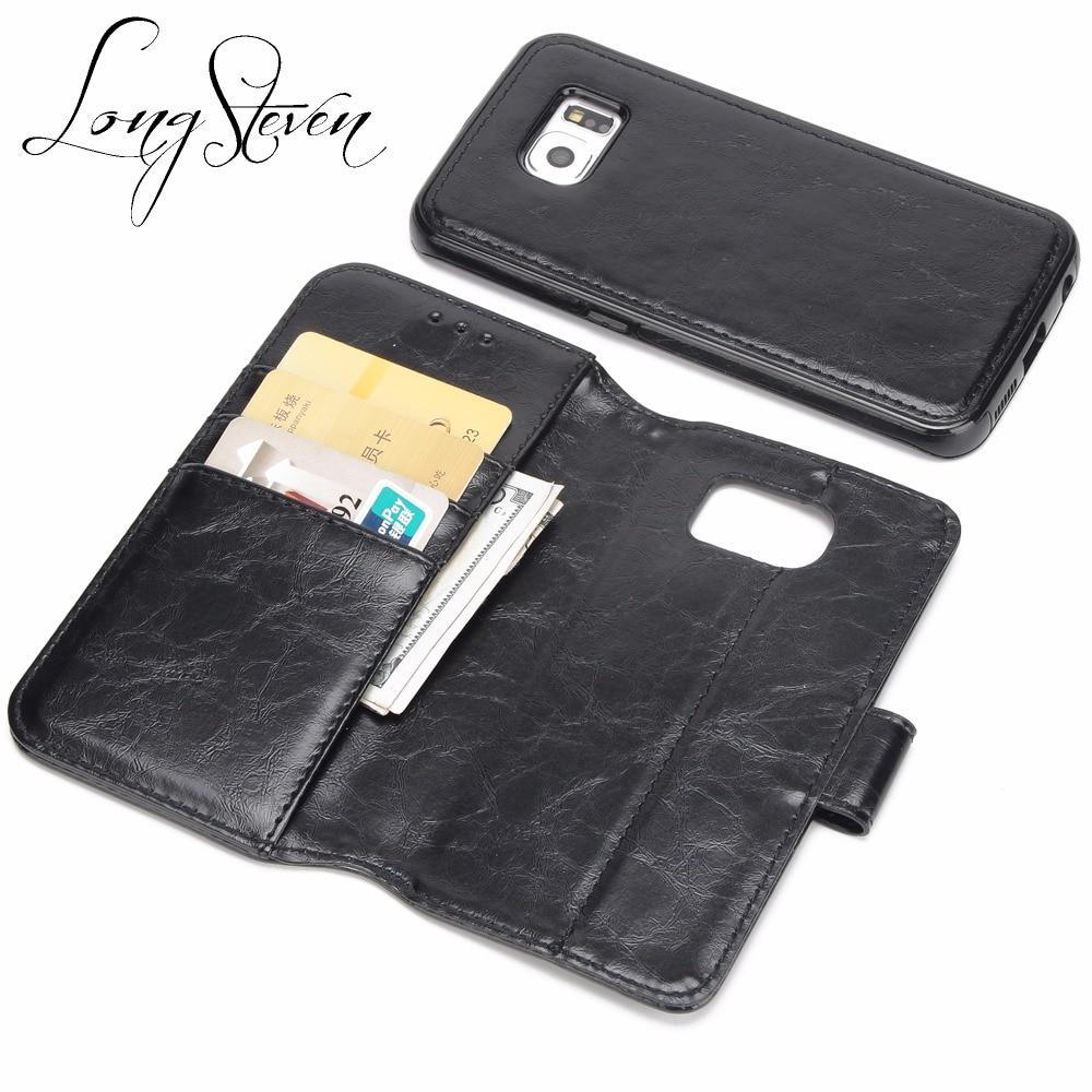 [Длинные Стивен] для Samsung S6 Чехол Съемный кожаный карты карман на магните adorption задняя крышка Подставки для Samsung Galaxy s6 случае