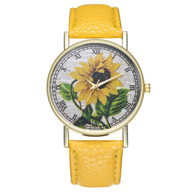 купить 8SEASONS Luxury PU Leather Watchbands Quartz Wrist Watches Sunflower Painting Women Ladies Couple Watch Clock Jewelry 1 Piece по цене 140.07 рублей