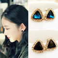 New Fashion Women Christmas Gift Earrings Jewelry Triangle champagne glowing gems sexy stud earrings