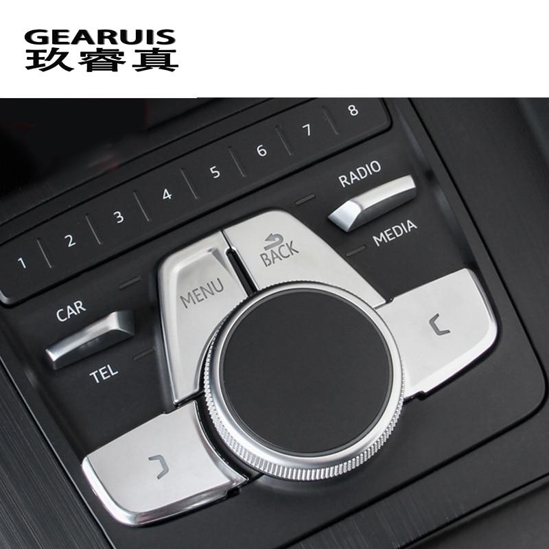 Car Styling For Audi A4 B9 2017 Gear Shift Panel Cover Trim Console multimedia MENU button Sticker Interior auto Accessories carbon fiber for audi a4 b9 sedan avant allroad quattro 2016 2017 transmission shift gear panel molding garnish cover trim
