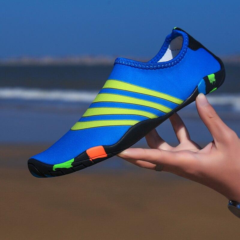 e5dd10015ecd Parent-child Men Beach Summer Aqua Shoes Quick-Drying Skin Striped Water  Shoes