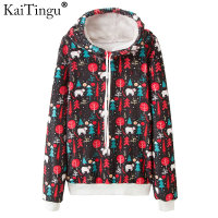 KaiTingu Christmas Print Women Hooded Sweatshirt For Autumn Winter Long Sleeve Hoodies Harajuku Kawaii Tracksuit Jumper