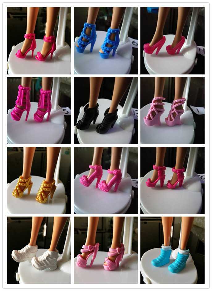 Free shipping Children kids baby toys Girls Gift Doll Accessories Mix Style Color 10 Pair shoes For Barbie original Dolls 1/6