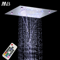 Contemporary Bathroom Rain Shower 360*500mm Polished LED Light Showerhead Remote Control Colorful Waterfall Shower Heads 304SUS