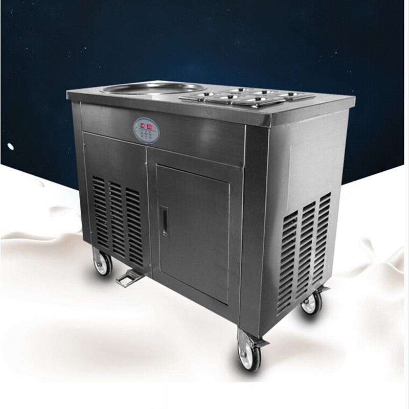 R401A R404A one pan 2 compressors with 6 bins fried ice cream roll machine ,fry yoghurt rolls machine ,ice pan machine free ship ce fried ice cream roll machine fried ice pan machine one pan with 6 buckets fry ice machine r22 r404a r401a accept cunstomize
