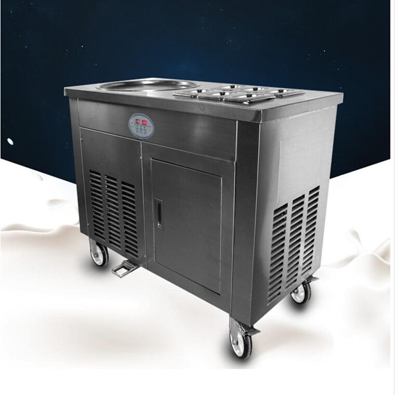 R401A R404A one pan 2 compressors with 6 bins fried ice cream roll machine ,fry yoghurt rolls machine ,ice pan machine free ship flat pan rolled fried ice machine with double compressors