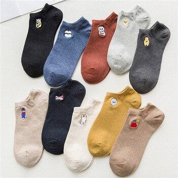 Women Socks 1 Pair Short Cotton Color Cute Cartoon Creative Print  Fashion Korean Style