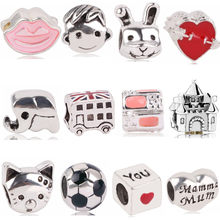 AIFEILI Charm Beads Personality Gift Pendant Series Suitable For Pandora Womens Bracelet Jewelry European Silver Boy Rabbit(China)