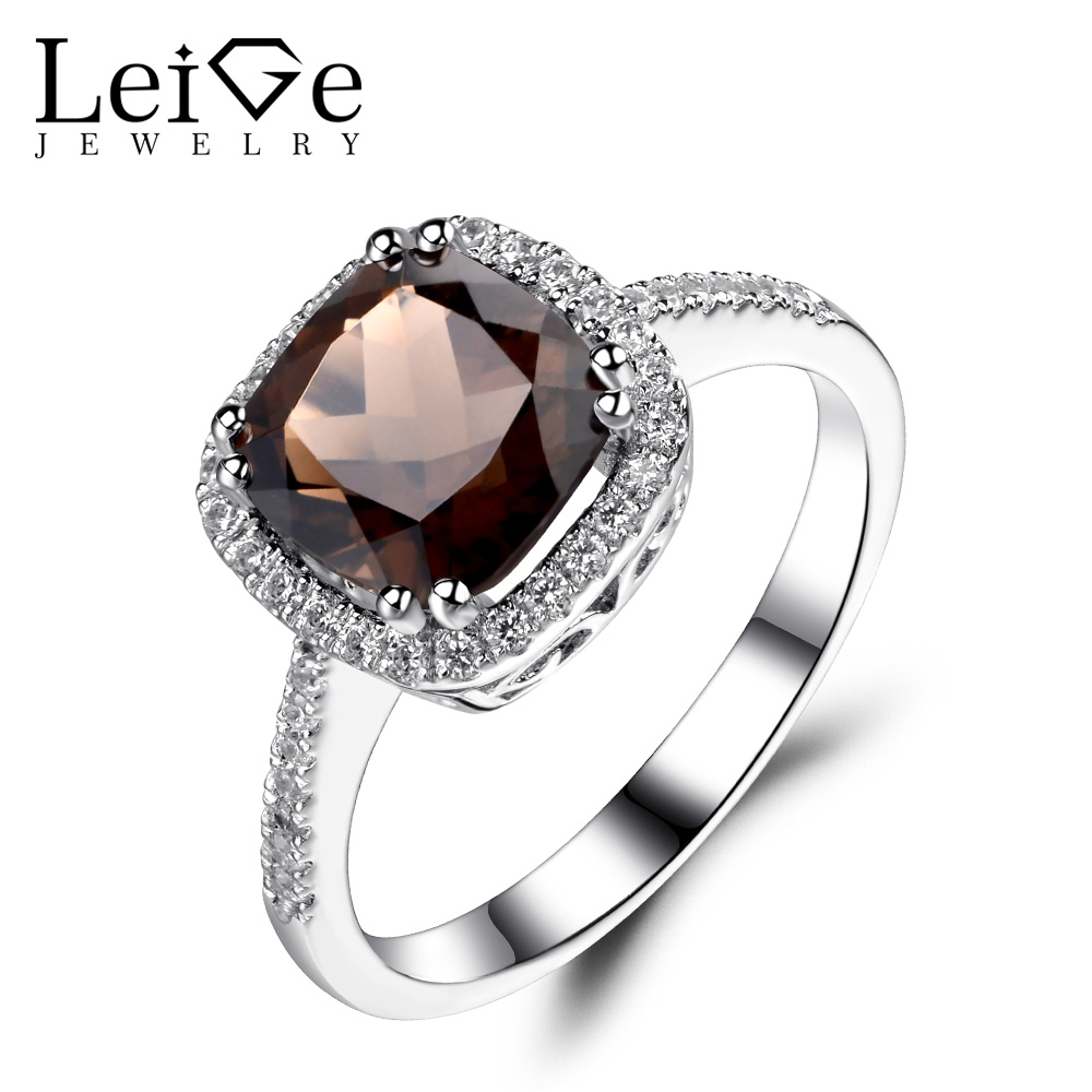 Leige Jewelry Natural Smoky Quartz Ring Cushion Cut Halo Engagement Promise  Rings For Women 925 Sterling Silver Gemstone Jewelry