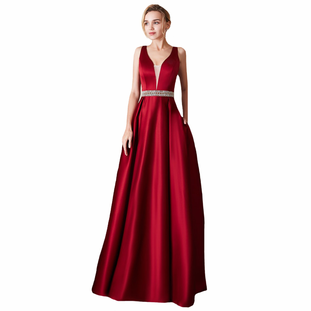 Backless Sexy Bridesmaid Dress Floor Length Elegant Women Prom Gowns V-Neck Sleeveless Wedding Party Formal Ladies Dresses