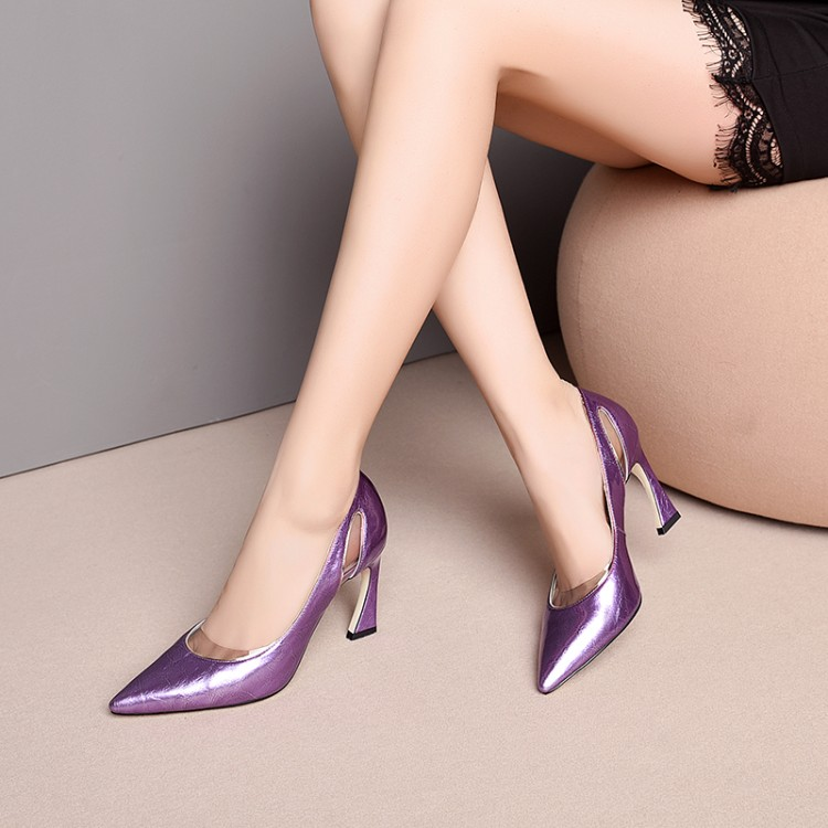 MLJUESE 2019 Women Pumps Autumn Spring Cow Leather Spike Heel Purple Color Shallow High Heels Lady Shoes Party Dress Size 34-43