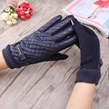 Female PU Leather Gloves New Prism Grid Pattern Mittens Letter Plaid High Quality  Screen Guantes Thicken Keep Warm Glove