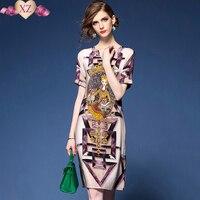 2017 Top Brand Summer Women S Elegant Beautiful Princess Print V Neck Casual Chiffon Retro Dress