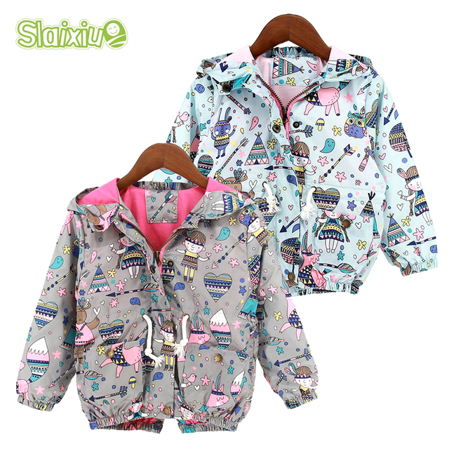 b90cd6770 Autumn Baby Girls Jackets Coats Windproof Cartoon Graffiti Hooded ...