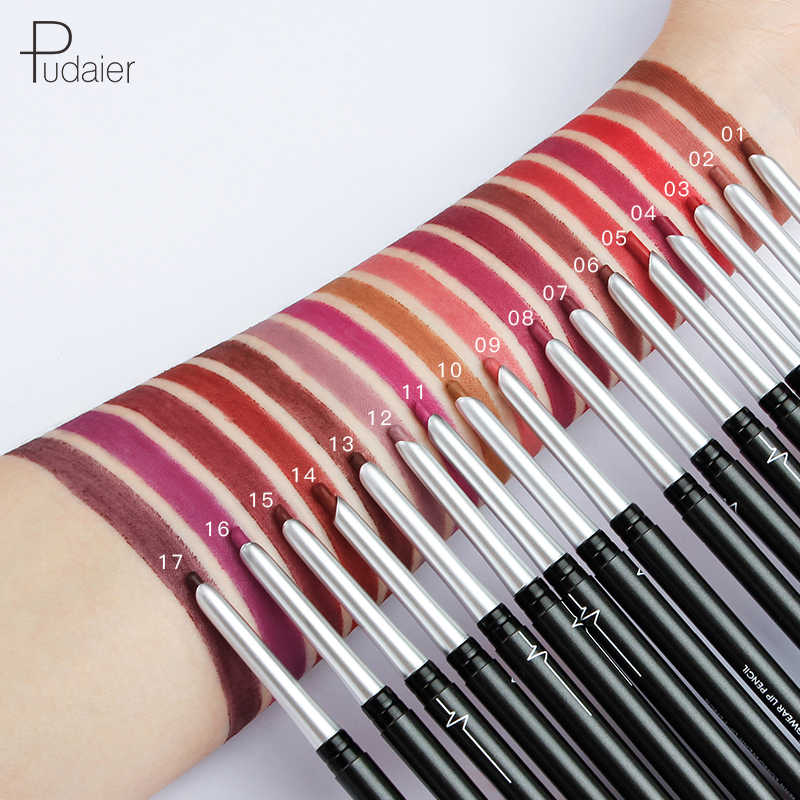 Brand Pudaier stereo matte 17color lip liner automatic non-fade eye shadow eyeliner lipstick hot style lip pencil
