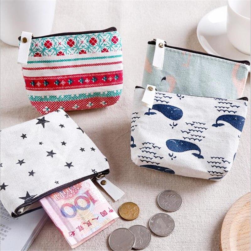 Canvas Bag Wallet Pouch Coin-Purse Zipper Small Card-Holder 1PC Unisex