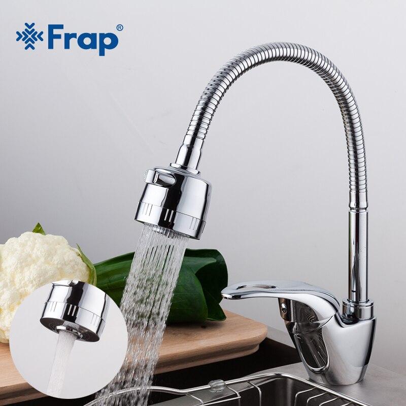 Frap 1 Unidades latón cocina lavabo grifo mezclador grifo frío y caliente del grifo solo agujero agua del grifo mezclador Monomando de cocina torneira cozinha F4303