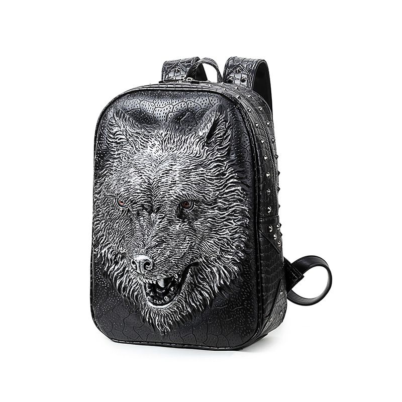 ФОТО 2016 Fashion Personality 3d Skull Wolf Leather Backpack Rivets Skull Backpack With Hood Cap Apparel Bag Rugzak Bags Hiphop Man