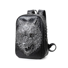 2016 Fashion Personality 3d Skull Wolf Leather Backpack Rivets Skull Backpack With Hood Cap Apparel Bag Rugzak Bags Hiphop Man