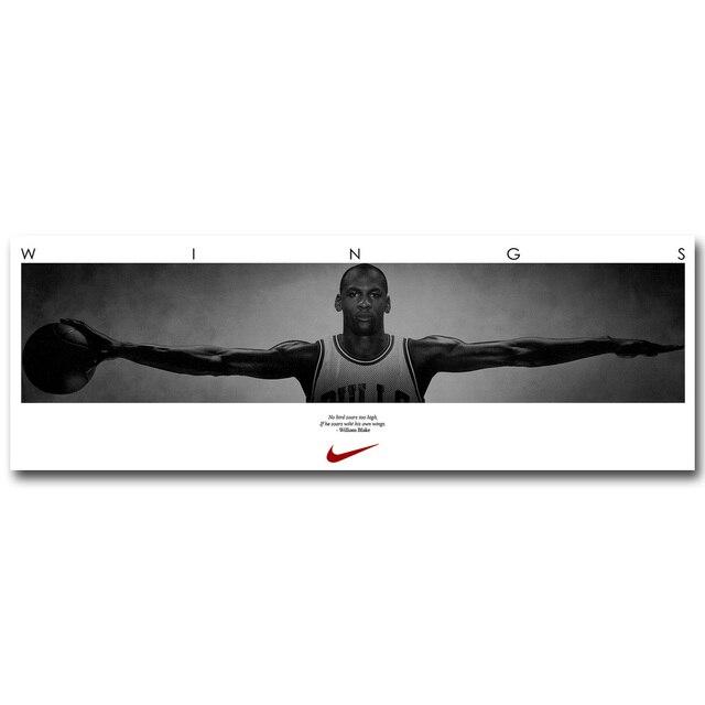 Michael Jordan Ailes Art De Tissu En Soie D'affiche 13x38 20x58 pouce de  Basket