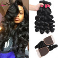 Mink 8A Brazilian Virgin Hair Loose Wave With Closure Virgin Brazilian Loose Curly Hair Weave 3 Bundle Deals With Lace Closure