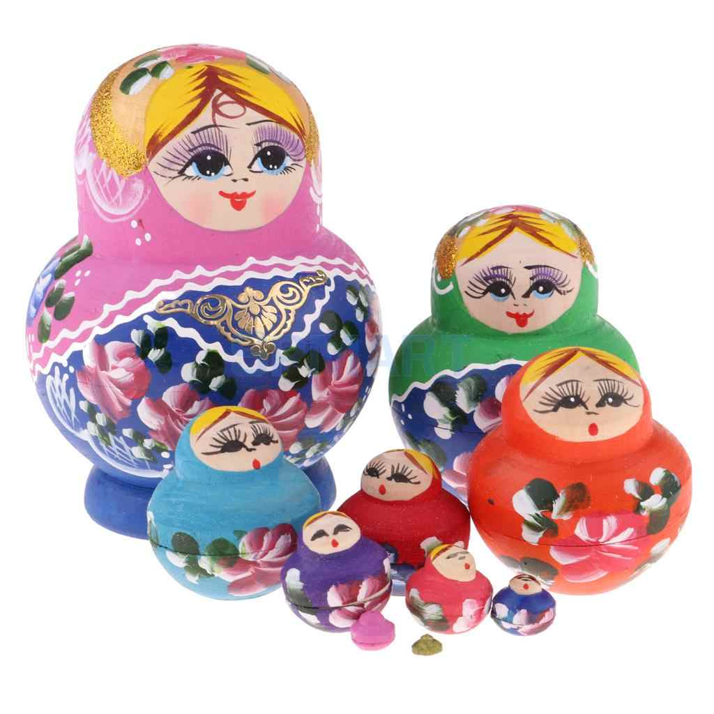 10Pieces Chromatic Wood Russian Matryoshka Nesting Doll Xmas Gift Ornament
