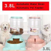 3.8L Large Automatic Pet Feeder Drinking Fountain For Cats Dogs Environmental Plastic Dog Food Bowl Pets Water Dispenser