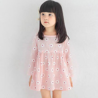 Pink Flowers Dress Girls Winter Korean Fashion Princess Dress Factory Direct One Generation