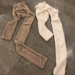 Image 4 - Foulard réchauffant pour femmes, joli ours oreilles, chapeau, peluche, écharpe à capuche, nouvelle mode, bonnet, joli cadeau pour filles